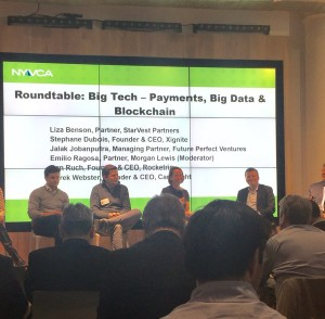 Liza Benson, StarVest Partner, speaking at the NYVCA Fintech Summit Roundtable. Photo from RIse NY (@ThinkRiseNY)